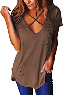 Relipop Women's Fashion Cross Front Deep V Neck Sexy Blouse Tops Shirts