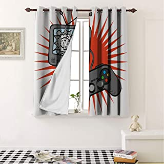 Mozenou Energy Saving Thermal Insulated Blackout Curtains Boys Room Video Games Themed Design in Retro Style Gamepad Console Entertainment Orange Grey White Noise Reducing- 63 by 45 in