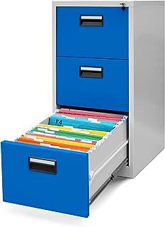 Jan Nowak V003 V003-Armario para archivadores Colgantes (3 cajones, Chapa de Acero pulverizado), Color Gris y Azul, Metal,...