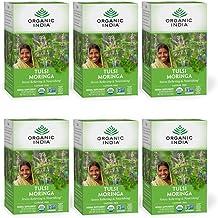 Organic India Tulsi Moringa Herbal Tea - Stress Relieving & Nourishing, Immune Support, Vegan, Gluten-Free, Certified Orga...