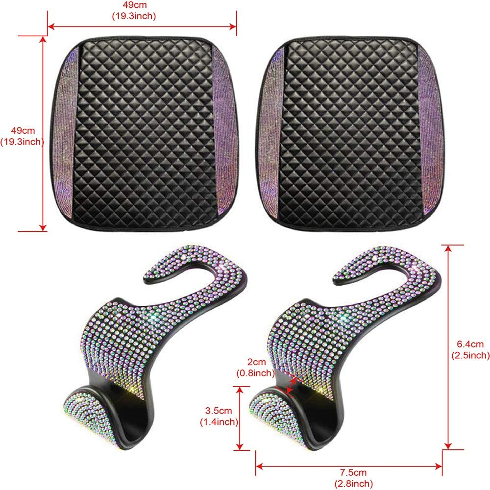 Colorful dayutech 2 Pack Bling Leather Car Front Seat Cover Protector Pad Mat Cushion for Auto Cars SUV Truck Jeep Interior Accessories for Women with 2pcs Bling Car Seat Hook Hanger