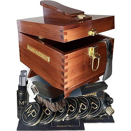 Coffret d'entretien pour chaussures en cuir, daim et nubuck   kit de cirage universel pour toutes les couleurs de chaussures   Set de produits et accessoires de nettoyage   Boîte de rangement en bois