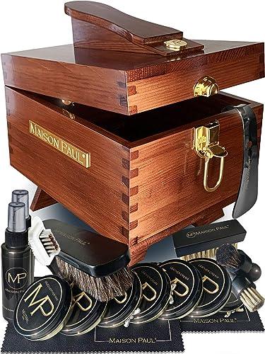 Coffret d'entretien pour chaussures en cuir, daim et nubuck   kit de cirage universel pour toutes les couleurs de cha...