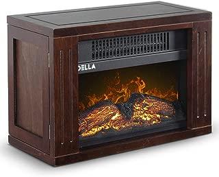 Della 750 Watt Hearth Portable Electric Fireplace Heater Log Flame Mini Desk Tabletop Heat Photo Frame, Brown