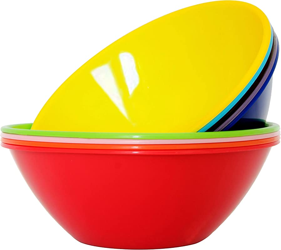 Youngever 10 Inch 120 Ounce Plastic Mixing And Serving Bowls Popcorn Bowls Salad Bowls Chip And Dip Serving Bowls 9 Pack In 9 Assorted Colors