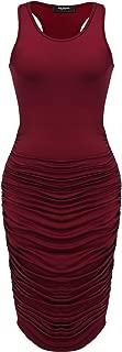 Zeagoo Ruched Bodycon Dress for Women, Midi Stretchy Sleeveless Tank Dress S-XXL