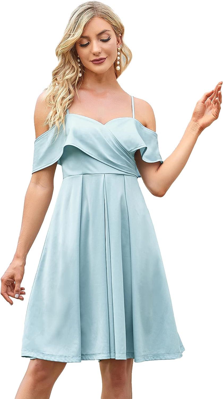 Ever-Pretty Women's A-line Short Off Shoulder Spaghetti Straps V Neck Cocktial Dress 80071