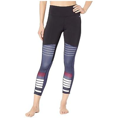Champion Fashion Tights 7/8 Novelty Blocking (Black/Indigo Stripe) Women