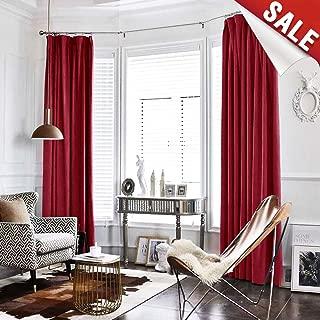 Velvet Curtain Burgundy Living Room Rod Pocket Window Curtain Panel 84 inch Long Bedroom Thermal 1 Panel