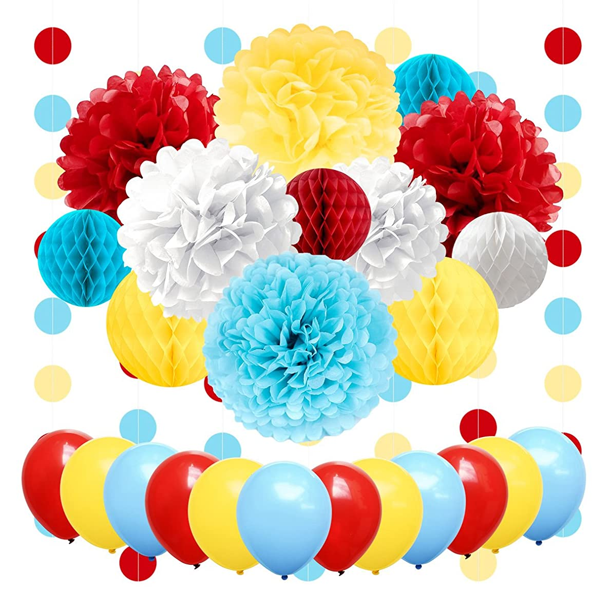NICROLANDEE Carnival Party Supplies Birthday Balloon Tissue Paper Flowers Pom Poms Honeycomb Ball Circle Dots Hanging Garland Banner for Circus Baby Shower Clown Backdrop Beach Kids Party Decorations