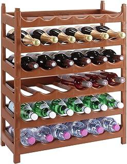 Wedestock - Estante modular para botellas (plástico, 36 botellas), color marrón