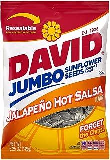 David Jumbo Sunflower Seeds Jalapeno Hot Salsa Flavor, 5.25 oz (Pack of 6)