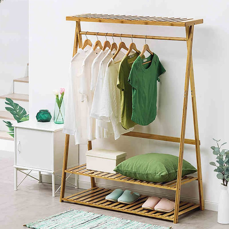 Floor Standing Coat Rack Clothes Hat Stand Hanger Hooks Simple Creaive Rod Wood, Available, 90x50x160CM (color   Log color,) (Size   90  50  160cm)