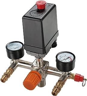 Secbolt Pressure Switch Manifold Regulator Gauges Air Compressor Pressure Switch Control Valve 90-120PSI (Vertical Switch)
