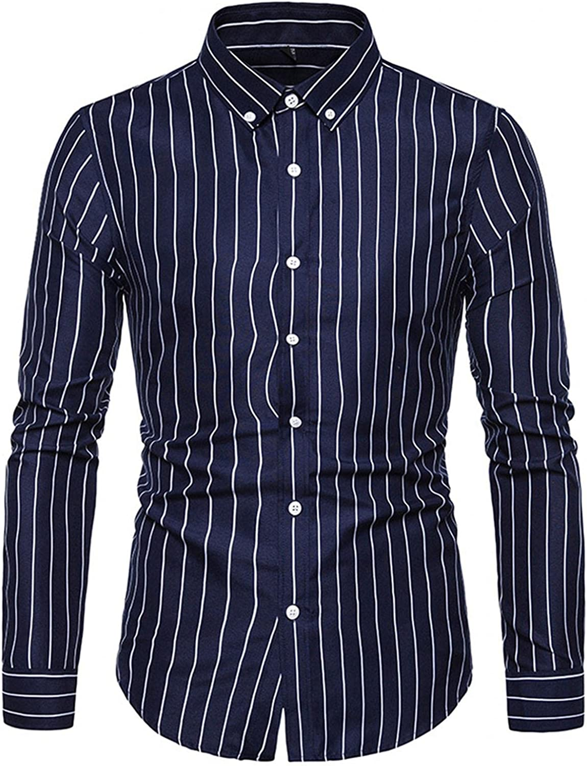 FUNEY Mens Slim Fit Dress Shirt Classic Western Plaid Stretch Vertical Striped Solid Long Sleeve Collar Button Down Shirt