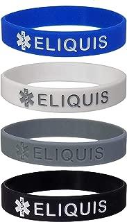Max Petals ELIQUIS Medical Alert ID Silicone Bracelet Wristbands 4 Pack