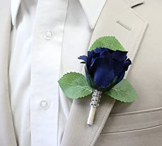Angel Isabella Boutonniere-Nice Hand-Crafted Rosebud Keepsake Artificial Flower-Pearl Headed Pin Included (Navy Blue)