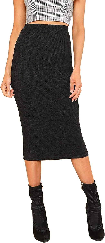 SheIn Women's Elegant Plain Stretchy Ribbed Knit Midi Full Length Basic Pencil Skirt