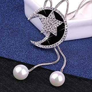 Star Moon Pearl Stream Sweater Chain Set Up Fashion Moon Long Necklace Automne/Bijoux d'hiver