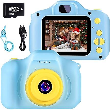 Fotocamera per Bambini Giocattolo Videocamera Digitale per Bambini Giocattolo per Bambini Schermo HD da 2 Pollici 1080P con 32 GB TF Card Giocattoli Regalo Ragazzi Ragazze da 3 a 12 Anni