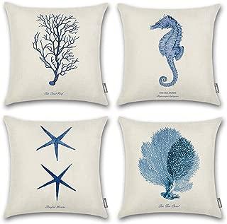 ONWAY Ocean Park Cotton Linen Theme Decorative Pillow Cover Case D 18