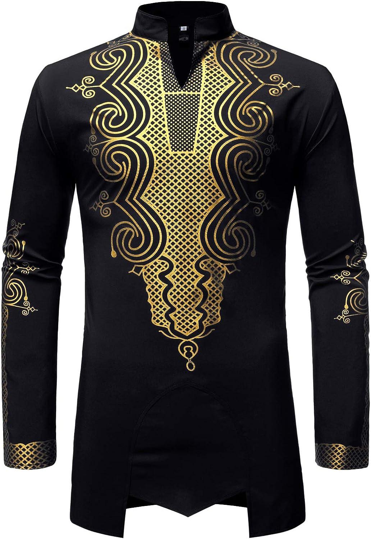 LucMatton Free shipping Sales results No. 1 New Men's Traditional African Gold Metallic Dashiki Luxury
