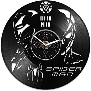 Handmade Vinyl Record Wall Clock Spider-Man vs Iron Man Clock Iron Man Clock Iron Man Gift Spider-Man Vinyl Clock Spider-Man Gift Marvel Comics Clock Wall Clock Large Gift for Kids Birthday Gift