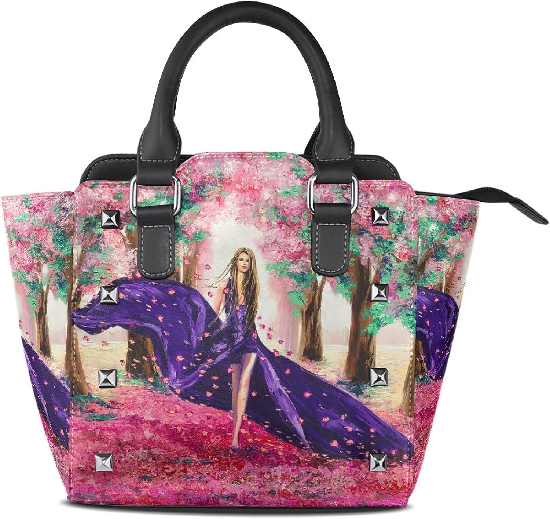 My Little Nest Women's Top Handle Satchel Handbag Oil Painting Spring Beautiful Lady Ladies PU Leather Shoulder Bag Crossbody Bag