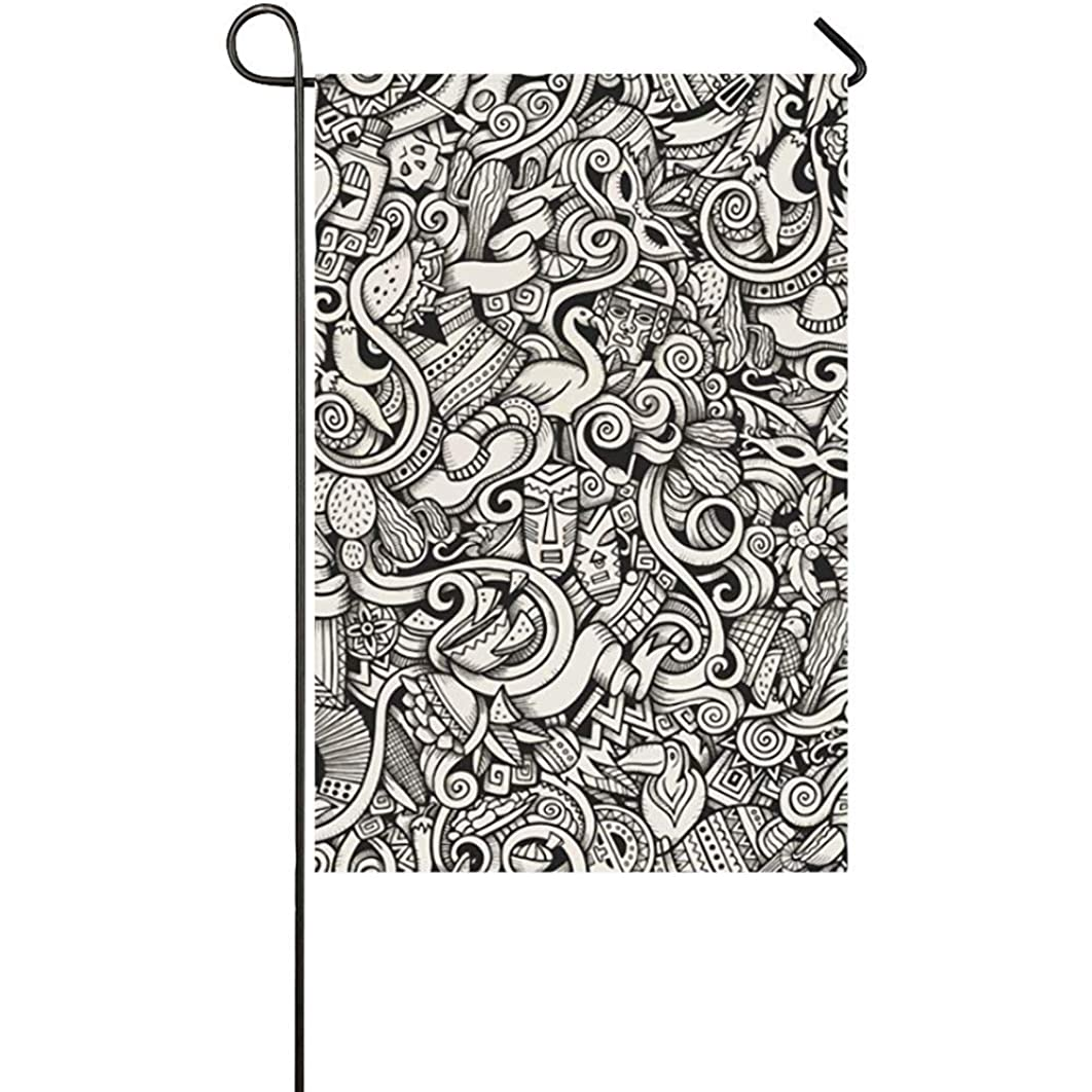GRATIANUS Home Decorative Outdoor Double Sided Cartoon Hand Drawn Doodles On The Subject of Latin Polyester Garden Flag Banner 12 x 18 Inch for Outdoor Home Garden Flower Pot Decor