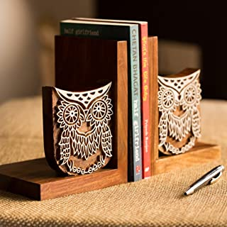 ExclusiveLane Owl Hand Engraved Book End Book Holders Stand Case Book Stopper & Sheesham Wooden Bookends (27.7 cm 12.2 cm ...