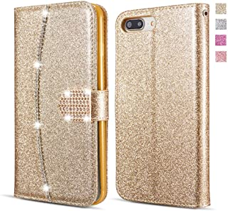 UEEBAI Wallet Flip Case for iPhone 6 Plus 6S Plus, Premium Glitter Glossy PU Leather Case with Diamond Buckle [Card Slots] [Magnetic Clasp] Stand Function Gems Strap Handbag Soft TPU Cover - Gold