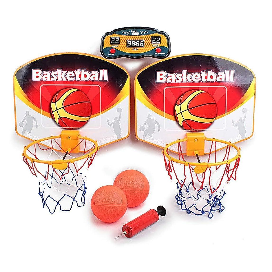 切り刻む合意工場Elaco バスケットボールシューティングゲーム ダブルバスケットボールボード 親子インタラクションおもちゃ LEDスクリーンスコラー付き 男の子と女の子用 バスケットボールフープセット 大人用 ストレス軽減