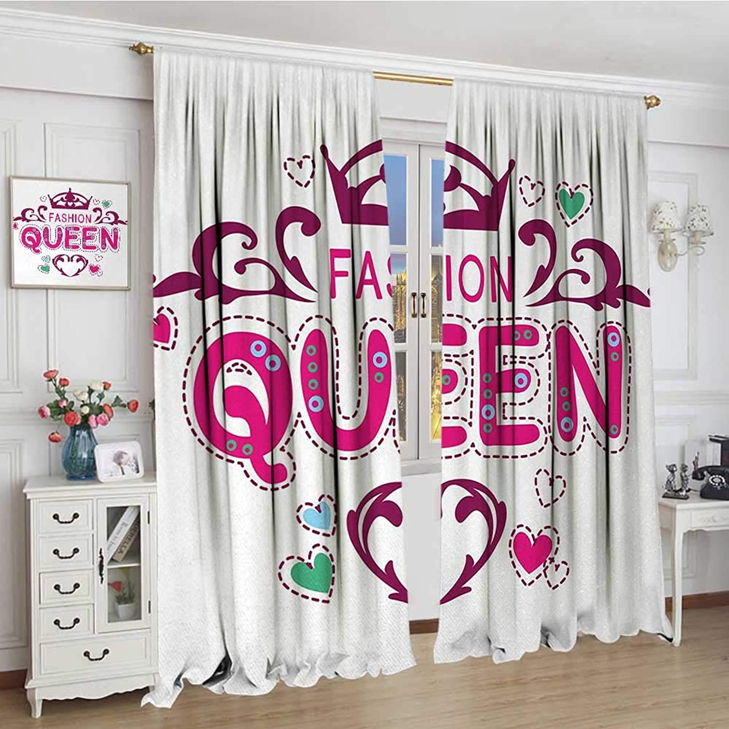 Smallbeefly Queen Window Curtain Drape Girlish Print Fancy Fashion Queen Lettering Floral Heart Shaped Ornaments Cute Waterproof Window Curtain 108 x72  Dried pink Pink