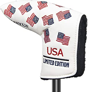 HAIYUE Golf Club Blade Putter Cover and Mallet Putter Head Covers Patriotic USA Flag Headcover Fit Most Brands Putter Star...