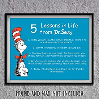 "Dr. Seuss Quotes Wall Art Sign- ""5 Lessons in Life""- 8 x 10"