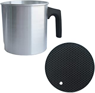 CozYours Pouring Pot for Candle Making 2 lb & Trivet Mat (1/1 Pack), Wax Pouring Pitcher, Small