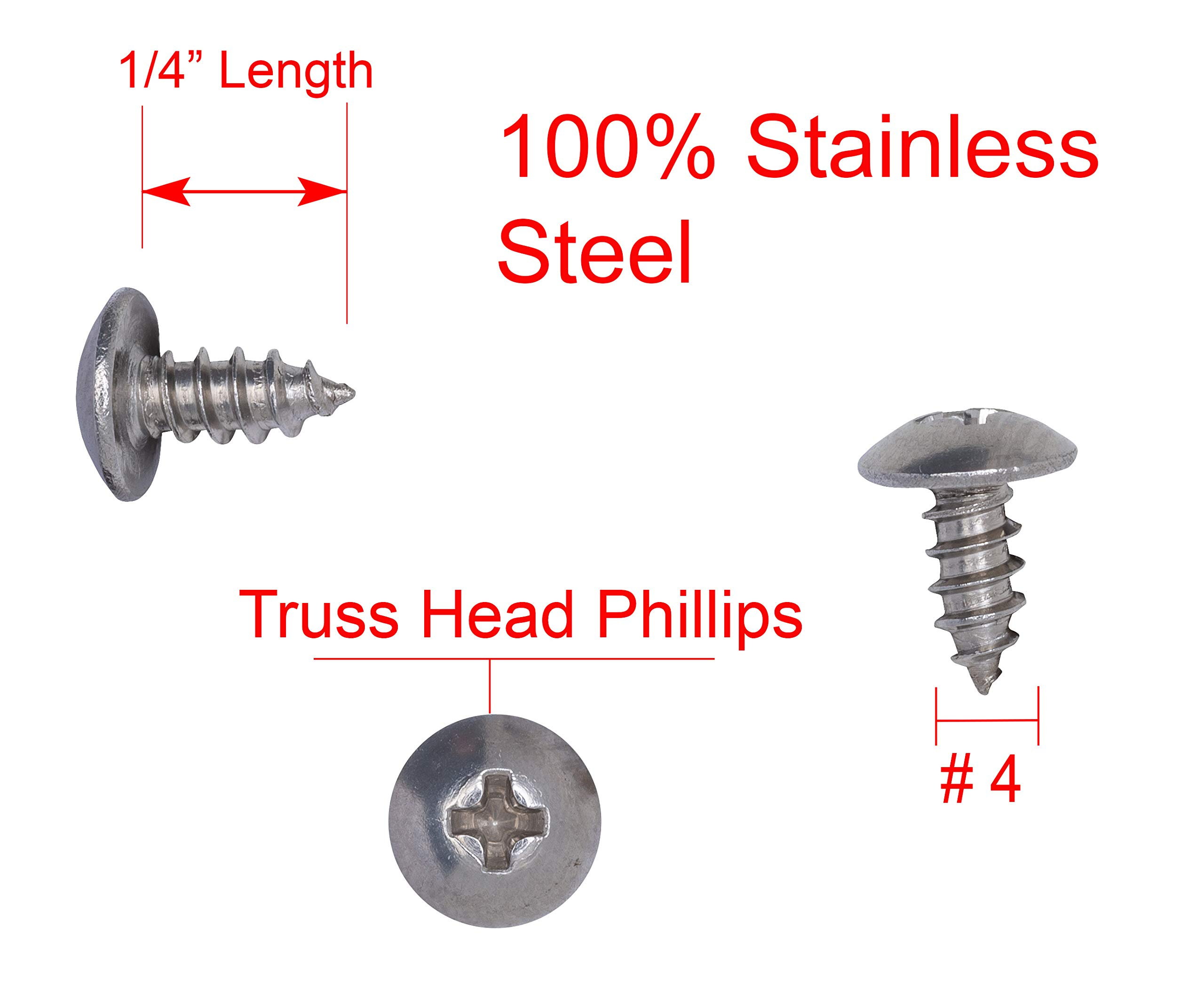 18-8 Stainless Steel Screws by Bolt Dropper 100pc #4 X 1//2 Stainless Truss Head Phillips Wood Screw 304