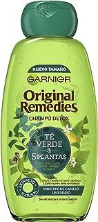 Garnier Original Remedies - Champú con Té Verde y 5 Plantas para Pelo Normal y Uso Diario - 300 ml