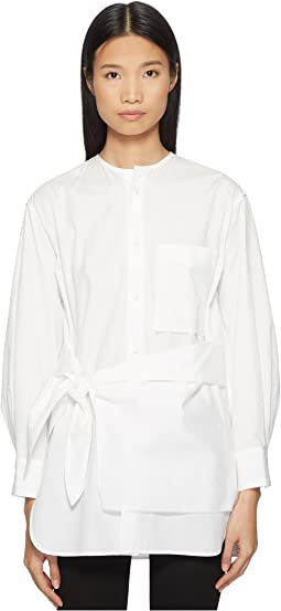 Y's by Yohji Yamamoto K-Collarless Tie Front Button Up Shirt