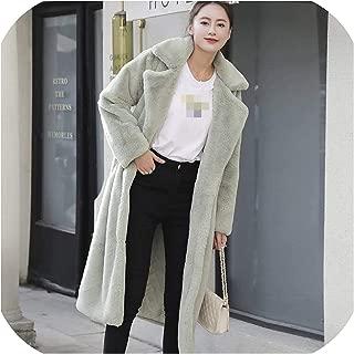 Surprise S Women Coatpink Long Jacket Loose Lapel Overcoat Thick Plush Coats