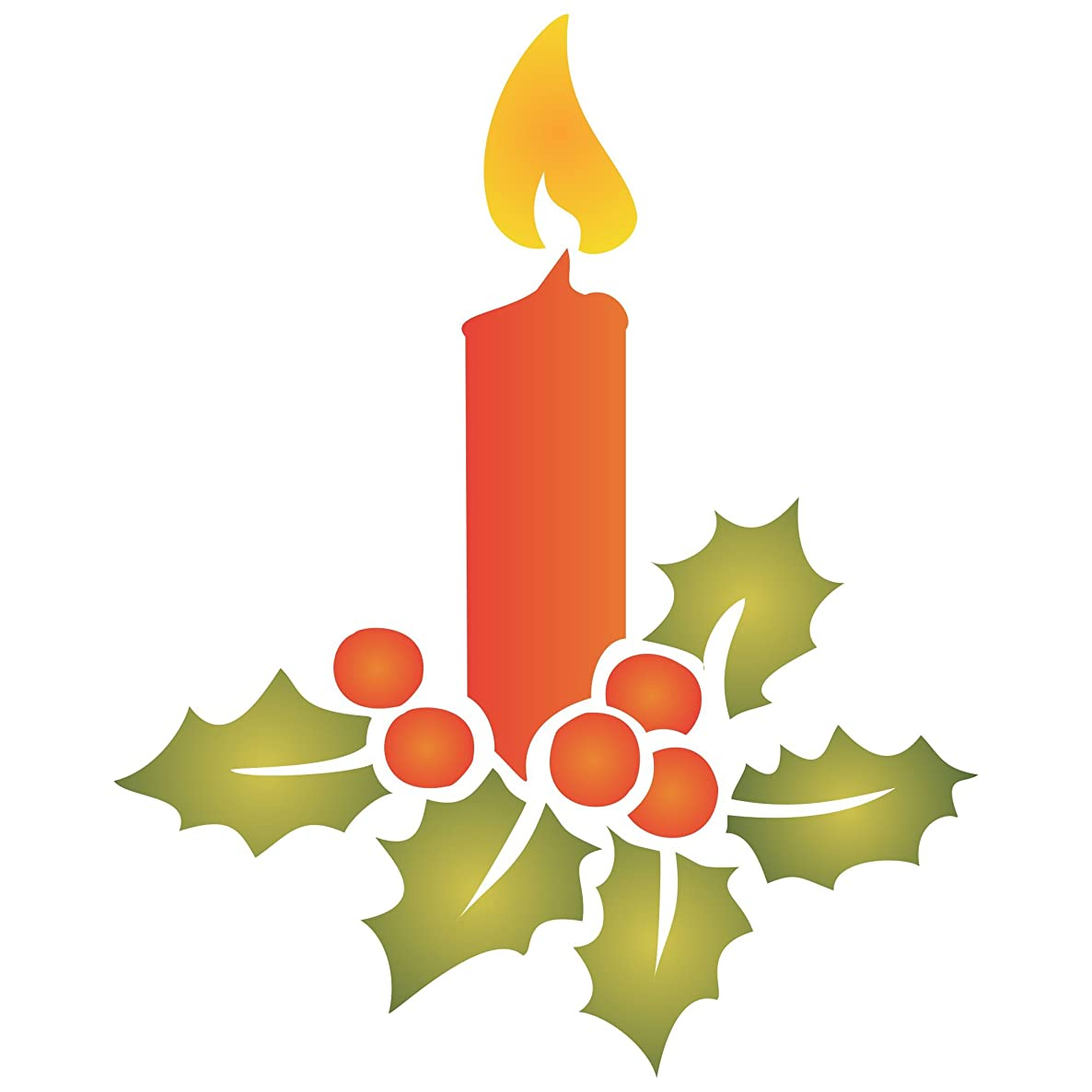"""Christmas Candle Stencil - 3.25""""w x 4""""h - Reusable Wall Stencils for Painting - Christmas Scrapbooking Décor & Card Ideas - Use on Walls, Floors, Fabrics, Glass, Wood, Terracotta, and More…"""