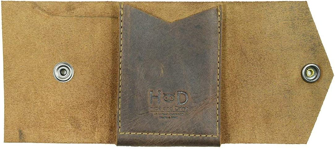 Hide & Drink, Leather T-Shape Wallet, Holds Up to 4 Cards Plus Flat Bills, Cash Organizer, Everyday Accessories, Handmade Includes 101 Year Warranty :: Bourbon Brown