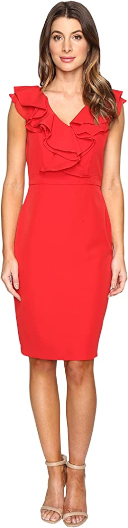 Stretch Crepe Ruffle Dress