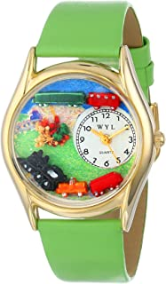 Whimsical Watches Kids' C1610001 Classic Gold Trains Light Green Leather And Goldtone Watch