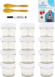 PreppyBaby 4 oz Glass Baby Food Storage Containers with Lids - Pack of 12 Reusable Dishwasher & Microwave Safe Food Jars ...