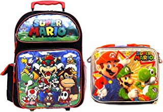 Super Mario Brothers Backpack Book Bag with Matching Lunch Box Travel Everyday bag pouch