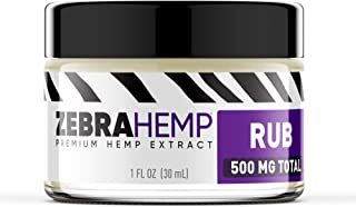 ZEBRA HEMP Natural Joint & Muscle Pain Discomfort Relief Rub/Cream/Salve - 500 mg