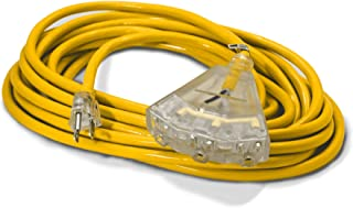 25-ft 14/3 Heavy Duty 3-Outlet Lighted SJTW Indoor/Outdoor Extension Cord by Watt's Wire - Yellow 25' 14-Gauge Grounded 15-Amp Three-Prong Power-Cord (25 foot 14-Awg)