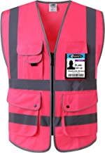 JKSafety 9 Pockets Class 2 High Visibility Zipper Front Safety Vest With Reflective Strips, Meets ANSI/ISEA Standards (Large, Pink)