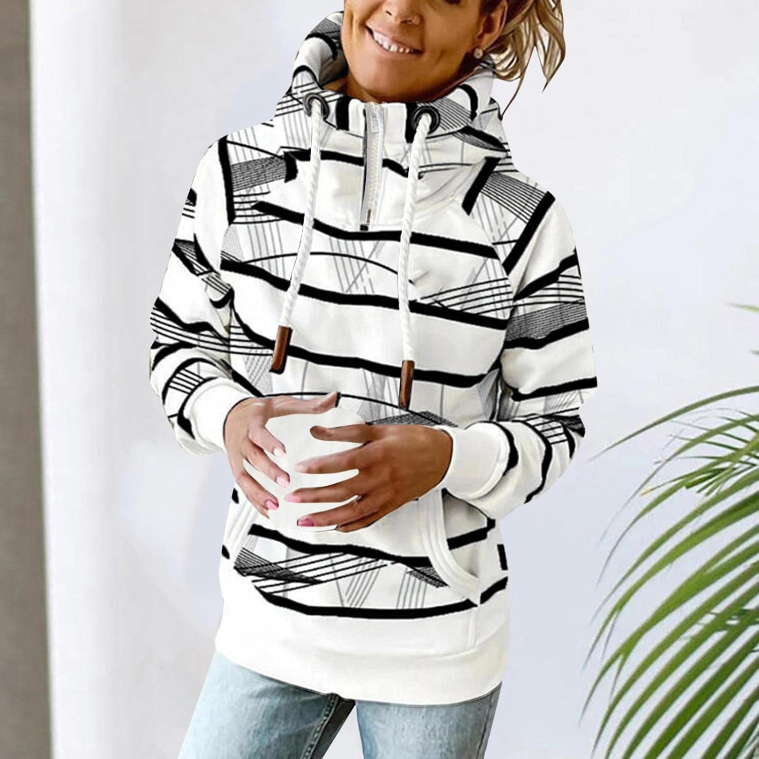 Hoodies for Women,Women's Drawstring Hooded Casual Soft Lightweight Tops Comfy Loose Blouse Pullover Pocket Sweatshirts